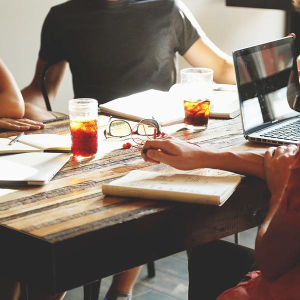 Meeting with people brainstorming ideas