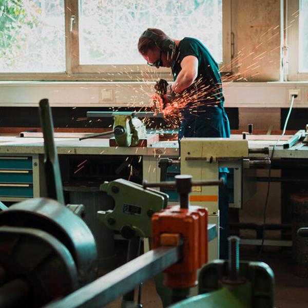 Worker in workshop