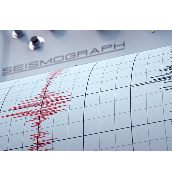 Seismograph paper showing earthquake