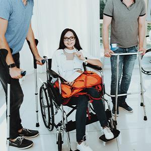 People using medical equipment
